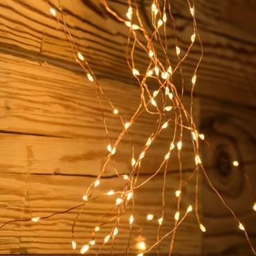 Lichterbündel 2 m, 600 Micro LEDs extra warmweiß, kupferfarbener Metalldraht