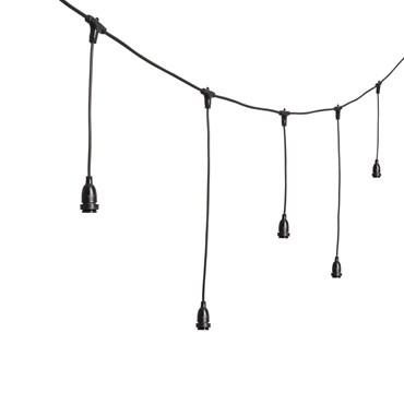 Guirlande Guinguette personnalisable avec 8 douilles E27 suspendues, h. 70 cm, 5 mètres, câble noir, prolongeable