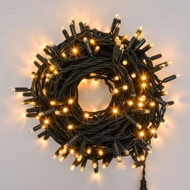 20m 200 Warm White Maxiled Flashled Connectable String Lights, Green Cable, PML Series