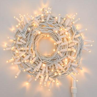 Guirnalda de luces profesionales 20 m prolongable, 200 Maxi Led blanco cálido con destellos