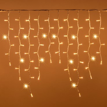 3 x h. 0.9m 228 Warm White Maxiled Connectable Flashing Icicle Lights, White Cable, PML Series