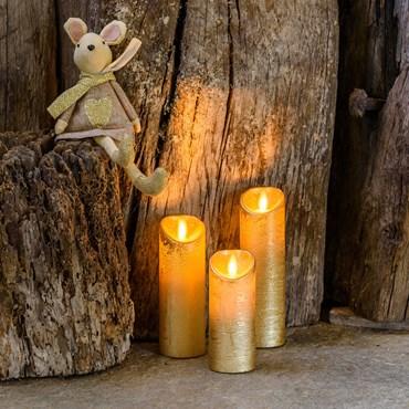 Lot de 3 bougies led couleur dorée, flamme en mouvement et télécommande Ø 5,2 cm, led blanc chaud, à piles