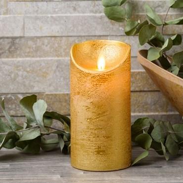 LED-Wachskerze goldfarben, h 15 cm, Ø 7.5 cm, warmweißes Licht, mit Timer