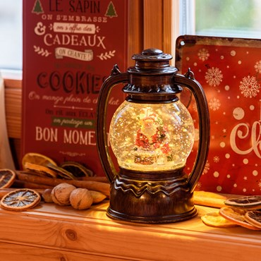 Lanterne Boule à Neige pour Noël, à piles, h 19 cm, led blanc chaud