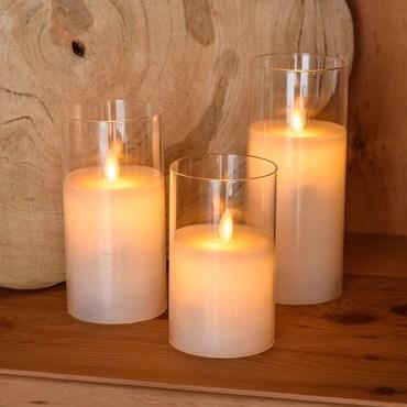 3er Set LED weiße Wachskerzen im Glas, Ø 7,5 cm, warmweißes Licht, mit Timer