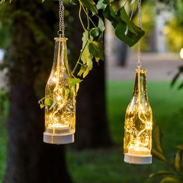 Bottiglia luminosa in vetro h 25 cm, 10 micro led bianco caldo a batteria
