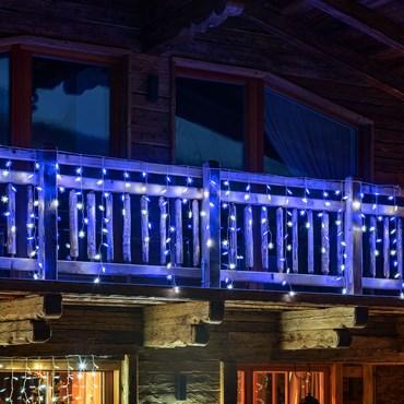 Stalattite 3,75 x h 1 m, 136 con fiocchi di neve led bianco freddo e blu, cavo bianco