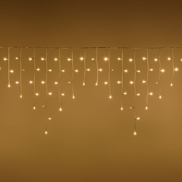 Stalattite 4,2 x 0,7 m, 186 led blanc chaud, câble blanc, prolongeable