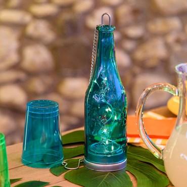 Bottiglia luminosa in vetro azzurro h 25 cm, 10 micro led bianco caldo a batteria
