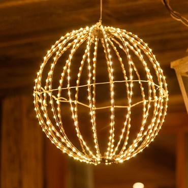 Leuchtkugel aus Kupferdraht Ø 30 cm, 500 Micro LEDs warmweiß