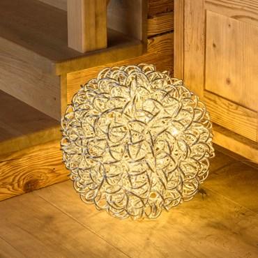 Silberne Leuchtkugel Ø 40 cm, 100 LEDs warmweiß