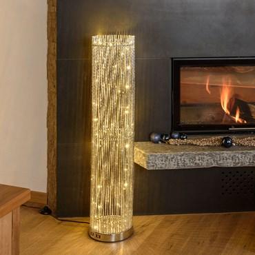 Silberne Säulenvase h 100 cm, 60 LEDs warmweiß