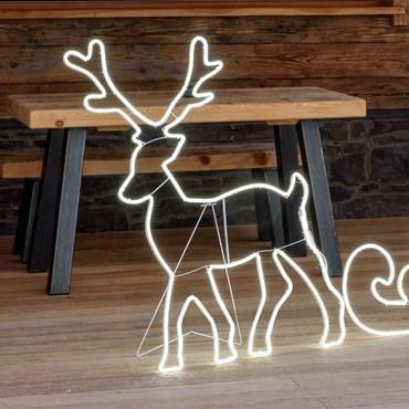 Renna in tubo effetto neon, 85 x h 115 cm, 840 led bianco freddo