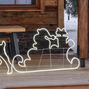 Traineau avec le Père Noël en tube lumineux 145 x h 80 cm, 840 led blanc froid
