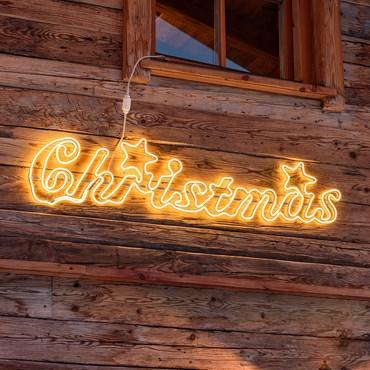 Leuchtschrift Christmas 160 x h 32 cm, LED-Lichtschlauch warmweiß