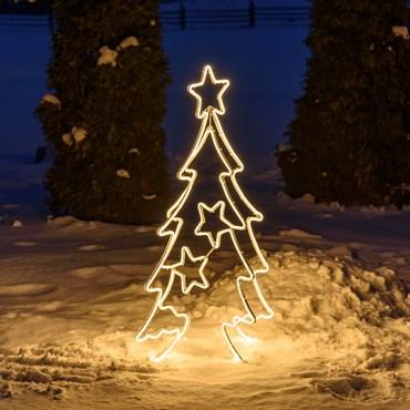 Lichtschlauch-Tannenbaum mit Sternen, h 115 cm, 768 LEDs warmweiß
