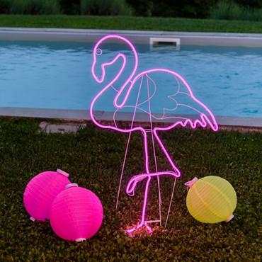 Lichtschlauch-Flamingo mit Neon-Effekt h 115 cm, 480 LEDs pink, rechte Seite