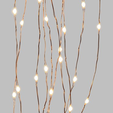 1.5m 150 Warm White Ultra Bright MicroLEDs Cascade of Light, Cooper Metal Wire