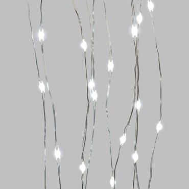1.5m 150 White Ultra Bright MicroLEDs Cascade of Light, Silver Metal Wire