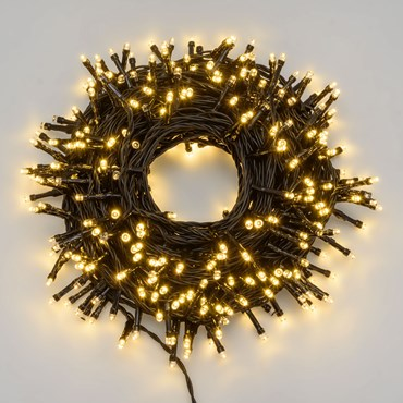 Lichterkette 21 m, 300 LEDs warmweiß ultrahell, schwarzes Kabel