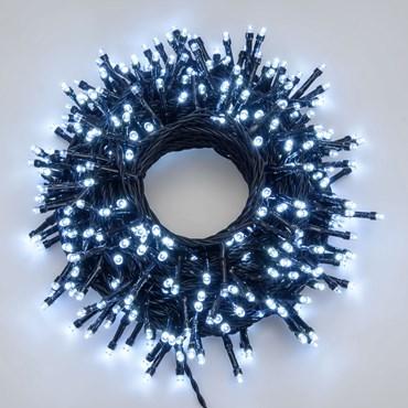 Lichterkette 21 m, 300 LEDs kaltweiß ultrahell, schwarzes Kabel
