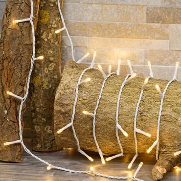 Lichterkette 21,5 m, 300 LEDs warmweiß ultrahell, weißes Kabel