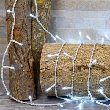 Lichterkette 21,5 m, 300 LEDs kaltweiß ultrahell, weißes Kabel