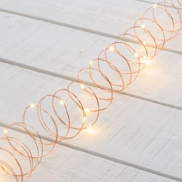Guirlande 3 m, 30 microled blanc chaud, câble métal cuivré, à piles