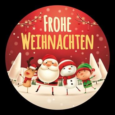 Gobo Frohe Weihnachten auf rotem Hintergrund, Ø37-23 mm