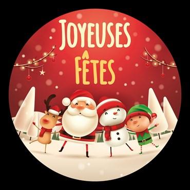 Gobo Elfe Renne Bonhomme de neige et Père Noël Joyeuses Fêtes pour projecteurs professionnels, Ø48-23 mm, couleurs