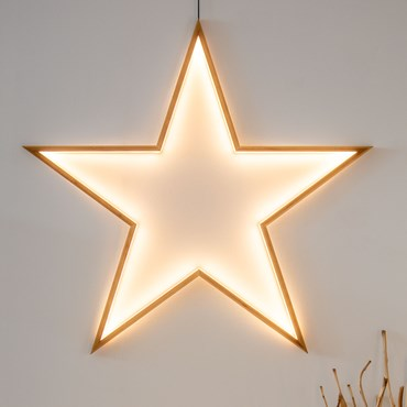 Design Wood Light, Estrella de madera natural, 110 cm, led blanco cálido, uso interior