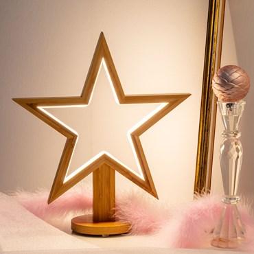 Design Wood Light, Stella con base in legno naturale, 35 cm, led bianco caldo, uso interno