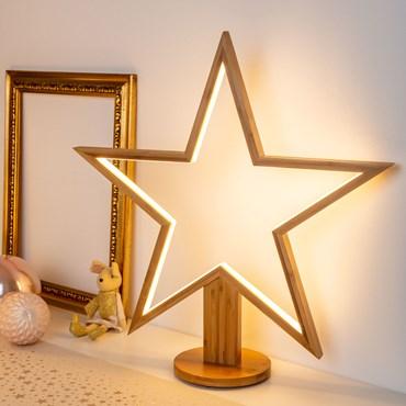 Design Wood Light, LED-Stern aus Naturholz auf Fuß, 55 cm, warmweiß, innen