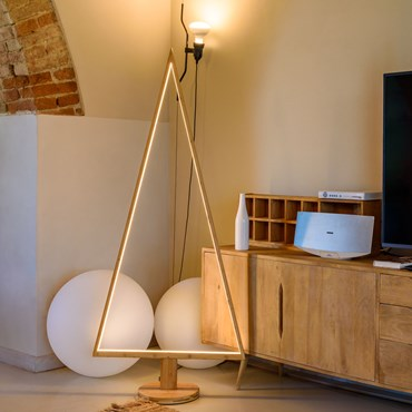 Design Wood Light, Albero di Natale in legno naturale, 170 cm, led bianco caldo, uso interno
