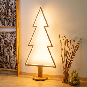 Design Wood Light, Abete in legno naturale, 145 cm, led bianco caldo, uso interno