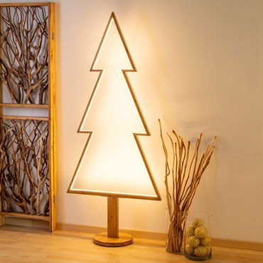 Design Wood Light, Abete in legno naturale, 170 cm, led bianco caldo, uso interno