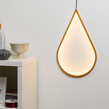 Design Wood Light, LED-Tropfen aus Naturholz, 58 cm, warmweiß. innen