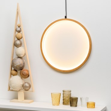 Design Wood Light, LED-Lichtkreis aus Naturholz, 37 cm, warmweiß, innen