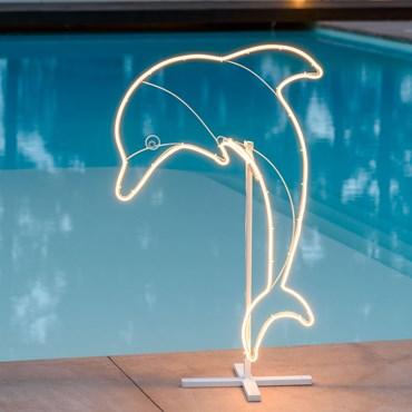 Lichtschlauch-Delfin, h 95 cm, 352 LEDs warmweiß, rechte Seite