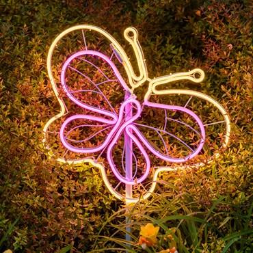 Lampada decorativa Farfalla in tubo effetto neon bianco caldo e rosa, h 45 cm, 440 led