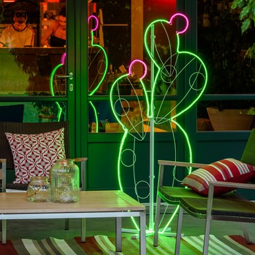 Prickly Pear Neon Lights SMD, h. 158 cm, Warm White Green and Pink Leds