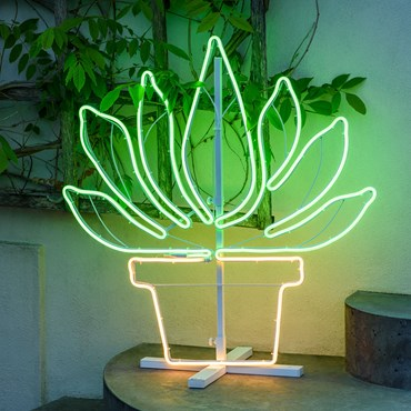 Potted Succulent Neon Lights SMD, h. 81 cm, Green and Warm White Leds