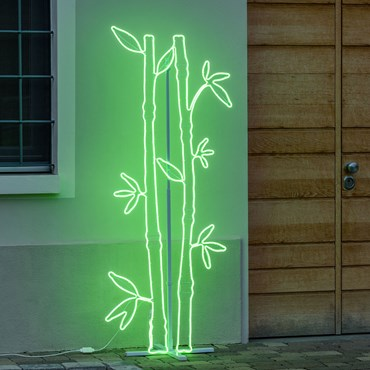 Double Sided Neon Bamboo Lights SMD, h. 178 cm, 1296 Leds, Green