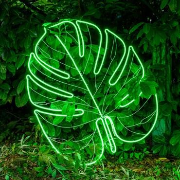 Lampe Grande Feuille Tropicale en tube lumineux double face effet néon, 114 cm, 952 led vert