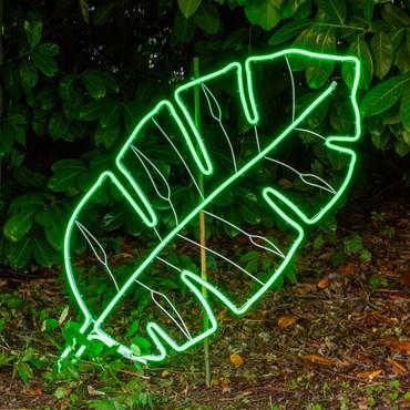 Tropisches Lichtschlauch-Blatt mit Neon-Effekt 53 h 114 cm, LEDs grün