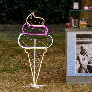 Lampe Glace cône en tube lumineux double face effet néon, 120 cm, 528 led rose, blanc chaud et froid