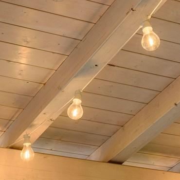 LED Filament-Lichterkette 10 Tropfenbirnen warmweiß, Ø 67 mm, weißes Kabel, erweiterbar