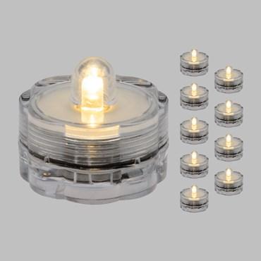 10 LED-Teelichter mit Batterie, warmweiß, wasserdicht