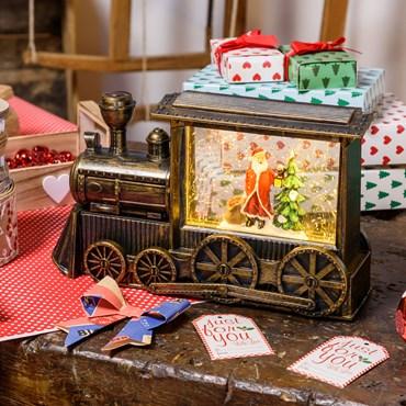 LED Weihnachtslaterne Zug mit Schneemann, h 17 cm, warmweiß, batteriebetrieben