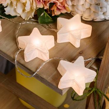 Deko-Lichterkette 10 Sterne aus weißem Papier Ø 75 mm, LED warmweiß, batteriebetrieben, innen